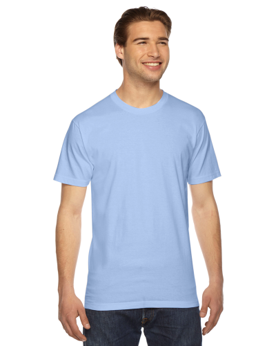 Baby Blue MADE IN USA Unisex Fine Jersey Short Sleeve T-Shirt as seen from the front