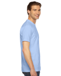 Baby Blue MADE IN USA Unisex Fine Jersey Short Sleeve T-Shirt as seen from the sleeveleft