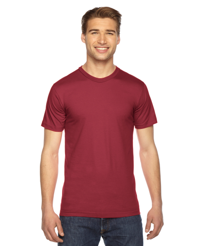 Cranberry MADE IN USA Unisex Fine Jersey Short Sleeve T-Shirt as seen from the front