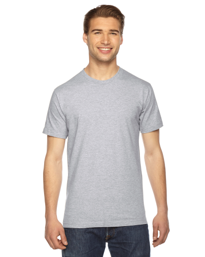 Heather Grey MADE IN USA Unisex Fine Jersey Short Sleeve T-Shirt as seen from the front