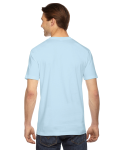 Light Blue MADE IN USA Unisex Fine Jersey Short Sleeve T-Shirt as seen from the back