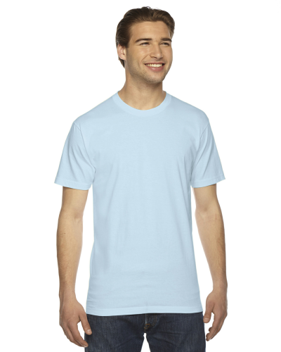 Light Blue MADE IN USA Unisex Fine Jersey Short Sleeve T-Shirt as seen from the front
