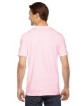 Light Pink MADE IN USA Unisex Fine Jersey Short Sleeve T-Shirt as seen from the back