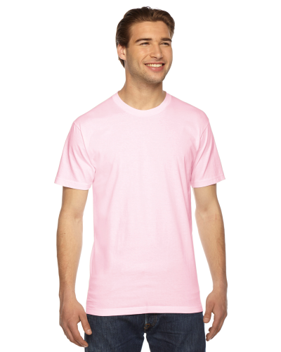 Light Pink MADE IN USA Unisex Fine Jersey Short Sleeve T-Shirt as seen from the front
