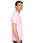 Light Pink MADE IN USA Unisex Fine Jersey Short Sleeve T-Shirt as seen from the sleeveleft