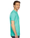 Mint MADE IN USA Unisex Fine Jersey Short Sleeve T-Shirt as seen from the sleeveleft