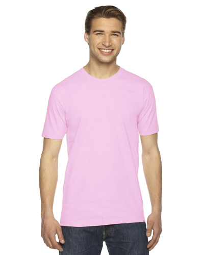 Pink MADE IN USA Unisex Fine Jersey Short Sleeve T-Shirt as seen from the front