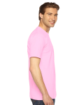 Pink MADE IN USA Unisex Fine Jersey Short Sleeve T-Shirt as seen from the sleeveleft
