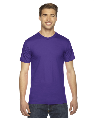 Purple MADE IN USA Unisex Fine Jersey Short Sleeve T-Shirt as seen from the front