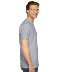 Slate MADE IN USA Unisex Fine Jersey Short Sleeve T-Shirt as seen from the sleeveleft