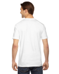 White MADE IN USA Unisex Fine Jersey Short Sleeve T-Shirt as seen from the back