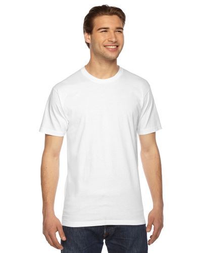 White MADE IN USA Unisex Fine Jersey Short Sleeve T-Shirt as seen from the front
