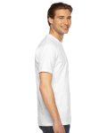 White MADE IN USA Unisex Fine Jersey Short Sleeve T-Shirt as seen from the sleeveleft