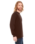Brown MADE IN USA Unisex Fine Jersey Long-Sleeve T-Shirt as seen from the sleeveleft
