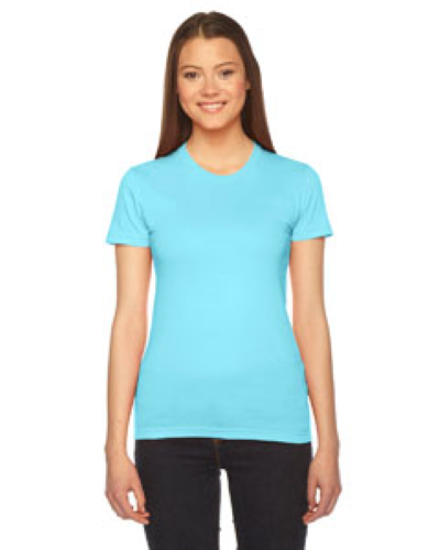 Aqua MADE IN USA Ladies' Fine Jersey Short-Sleeve T-Shirt as seen from the front