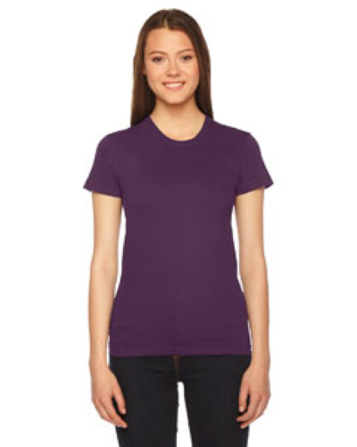 Eggplant MADE IN USA Ladies' Fine Jersey Short-Sleeve T-Shirt as seen from the front