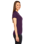 Eggplant MADE IN USA Ladies' Fine Jersey Short-Sleeve T-Shirt as seen from the sleeveleft