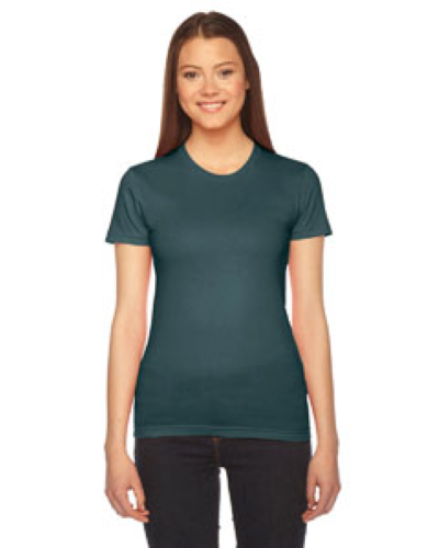 Forest MADE IN USA Ladies' Fine Jersey Short-Sleeve T-Shirt as seen from the front
