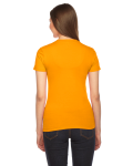 Gold MADE IN USA Ladies' Fine Jersey Short-Sleeve T-Shirt as seen from the back