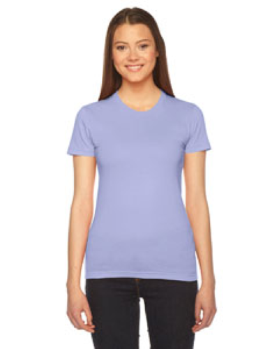 Lavender MADE IN USA Ladies' Fine Jersey Short-Sleeve T-Shirt as seen from the front