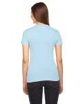 Light Blue MADE IN USA Ladies' Fine Jersey Short-Sleeve T-Shirt as seen from the back