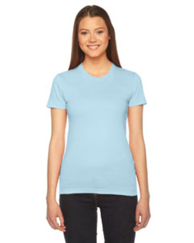 Light Blue MADE IN USA Ladies' Fine Jersey Short-Sleeve T-Shirt as seen from the front