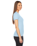 Light Blue MADE IN USA Ladies' Fine Jersey Short-Sleeve T-Shirt as seen from the sleeveleft