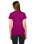 Raspberry MADE IN USA Ladies' Fine Jersey Short-Sleeve T-Shirt as seen from the back