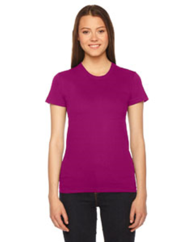 Raspberry MADE IN USA Ladies' Fine Jersey Short-Sleeve T-Shirt as seen from the front