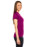 Raspberry MADE IN USA Ladies' Fine Jersey Short-Sleeve T-Shirt as seen from the sleeveleft