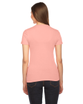 Summer Peach MADE IN USA Ladies' Fine Jersey Short-Sleeve T-Shirt as seen from the back