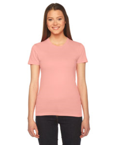 Summer Peach MADE IN USA Ladies' Fine Jersey Short-Sleeve T-Shirt as seen from the front