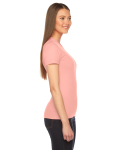 Summer Peach MADE IN USA Ladies' Fine Jersey Short-Sleeve T-Shirt as seen from the sleeveleft