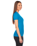 Teal MADE IN USA Ladies' Fine Jersey Short-Sleeve T-Shirt as seen from the sleeveleft