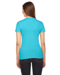 Turquoise MADE IN USA Ladies' Fine Jersey Short-Sleeve T-Shirt as seen from the back