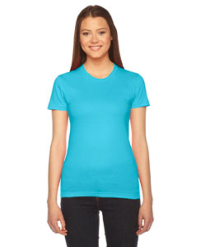 Turquoise MADE IN USA Ladies' Fine Jersey Short-Sleeve T-Shirt as seen from the front