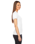 White MADE IN USA Ladies' Fine Jersey Short-Sleeve T-Shirt as seen from the sleeveleft