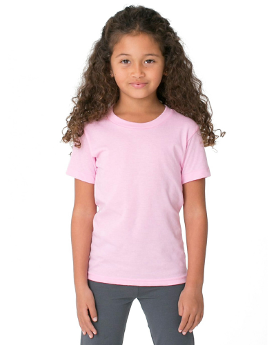 Pink MADE IN USA Toddler Fine Jersey Short-Sleeve T-Shirt as seen from the front