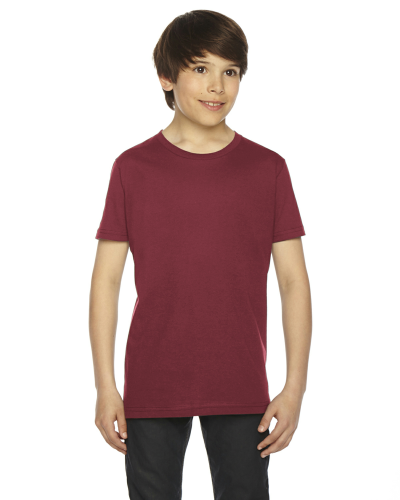 Cranberry MADE IN USA Youth Fine Jersey Short-Sleeve T-Shirt as seen from the front