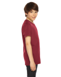 Cranberry MADE IN USA Youth Fine Jersey Short-Sleeve T-Shirt as seen from the sleeveleft