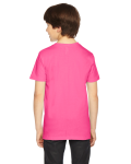 Fuchsia MADE IN USA Youth Fine Jersey Short-Sleeve T-Shirt as seen from the back