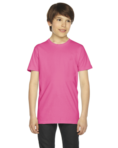 Fuchsia MADE IN USA Youth Fine Jersey Short-Sleeve T-Shirt as seen from the front