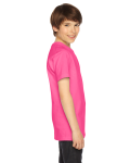 Fuchsia MADE IN USA Youth Fine Jersey Short-Sleeve T-Shirt as seen from the sleeveleft