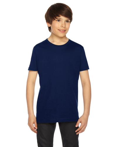 Navy MADE IN USA Youth Fine Jersey Short-Sleeve T-Shirt as seen from the front