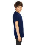 Navy MADE IN USA Youth Fine Jersey Short-Sleeve T-Shirt as seen from the sleeveleft