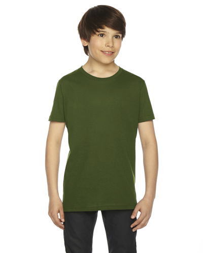 Olive MADE IN USA Youth Fine Jersey Short-Sleeve T-Shirt as seen from the front