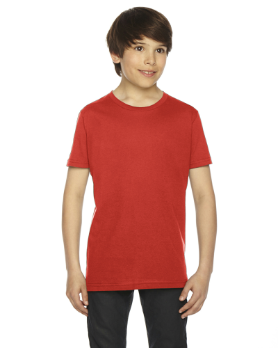 Orange MADE IN USA Youth Fine Jersey Short-Sleeve T-Shirt as seen from the front
