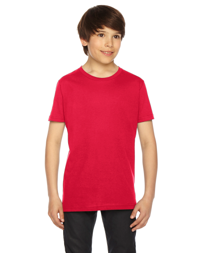 Red MADE IN USA Youth Fine Jersey Short-Sleeve T-Shirt as seen from the front
