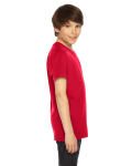 Red MADE IN USA Youth Fine Jersey Short-Sleeve T-Shirt as seen from the sleeveleft