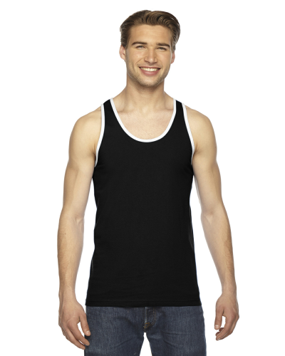 Black White MADE IN USA Unisex Fine Jersey Tank as seen from the front